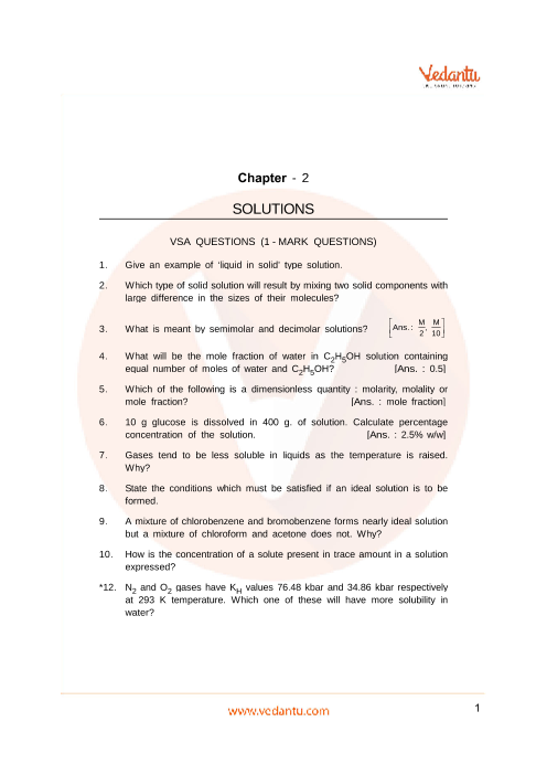 Important Questions Class 12 Chemistry Chapter 2 part-1