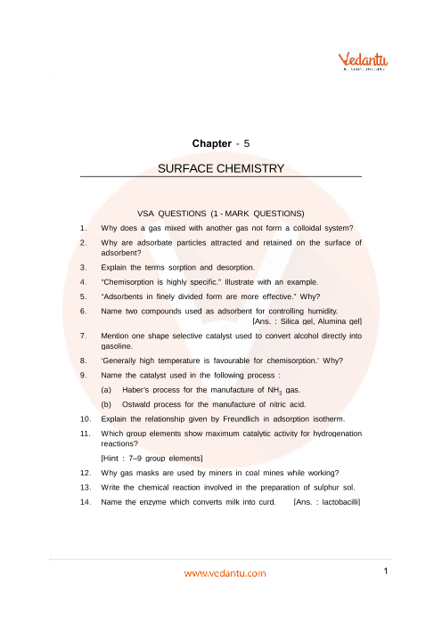 Important Questions Class 12 Chemistry Chapter 5 part-1
