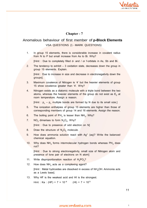 Important Questions Class 12 Chemistry Chapter 7 part-1