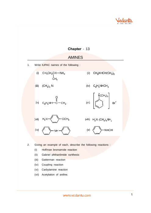 Important Questions Class 12 Chemistry Chapter 13 part-1