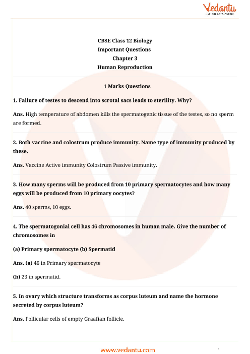 Important Questions Class 12 Biology Chapter 3 part-1