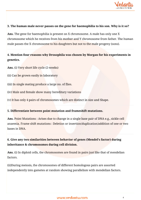 Important Questions For Cbse Class 12 Biology Chapter 5 Principles