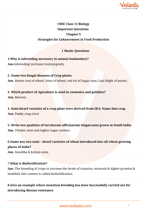 Important Questions Class 12 Biology Chapter 9 part-1
