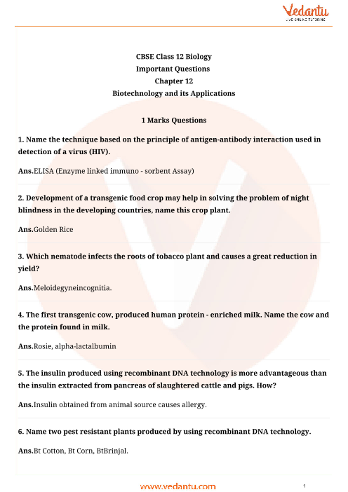 Important Questions Class 12 Biology Chapter 12 part-1