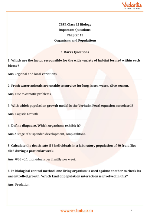 Important Questions Class 12 Biology Chapter 13 part-1