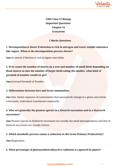 Important Questions Class 12 Biology Chapter 14 part-1