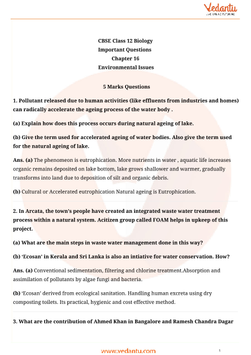 Important Questions Class 12 Biology Chapter 16 part-1