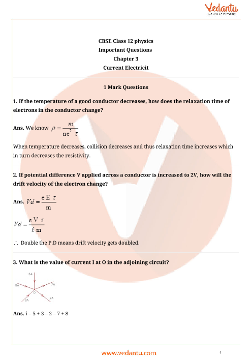 Important Questions Class 12 Physics Chapter 3 part-1