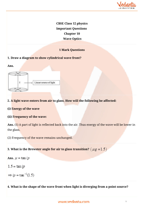 Important Questions Class 12 Physics Chapter 10 part-1