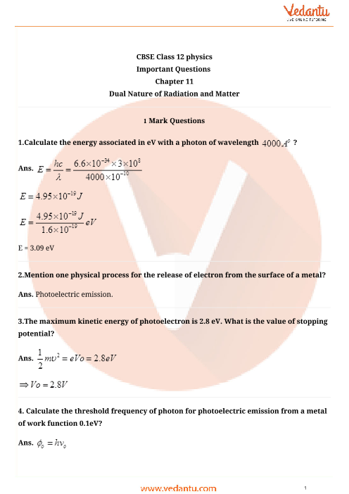 Important Questions Class 12 Physics Chapter 11 part-1