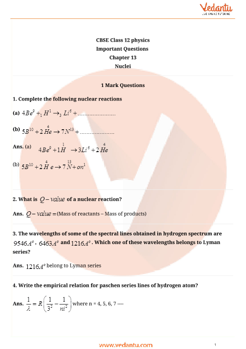 Important Questions Class 12 Physics Chapter 13 part-1