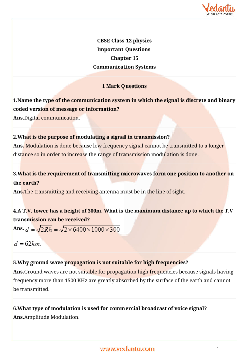 Important Questions Class 12 Physics Chapter 15 part-1