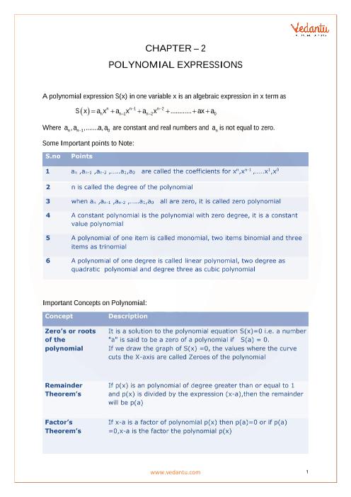 Chapter 2 - Polynomials Formula part-1