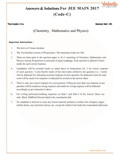JEE-Main-2017-Question-Paper-Set-C-Solutions part-1
