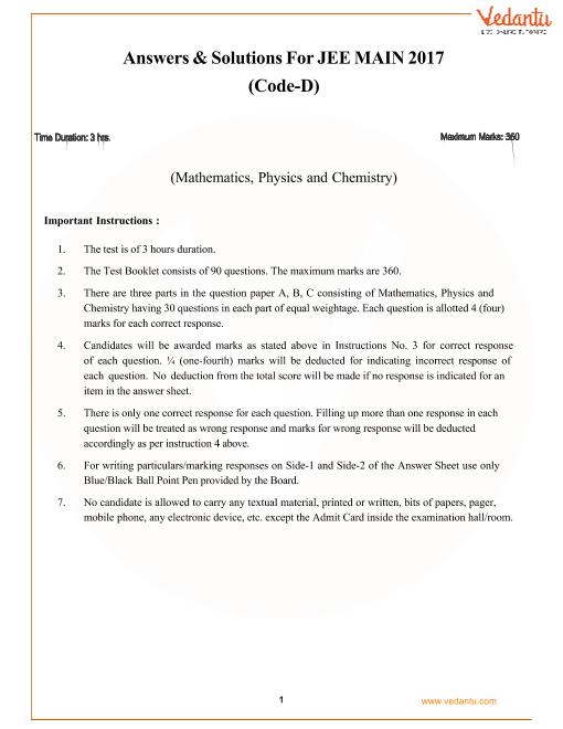JEE-Main-2017-Question-Paper-Set-D-Solutions part-1