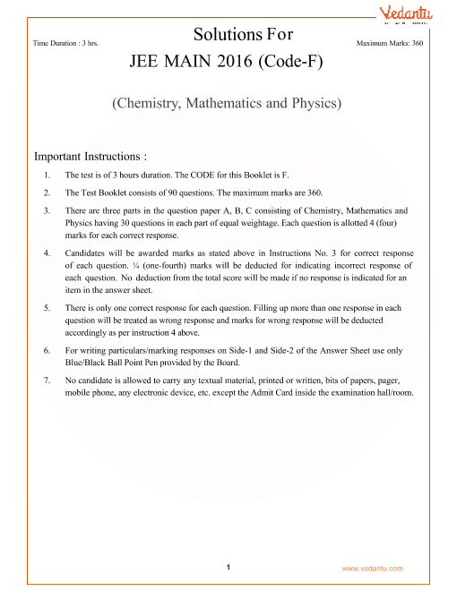 JEE Main Question Paper 2016-Set-F-Solutions part-1