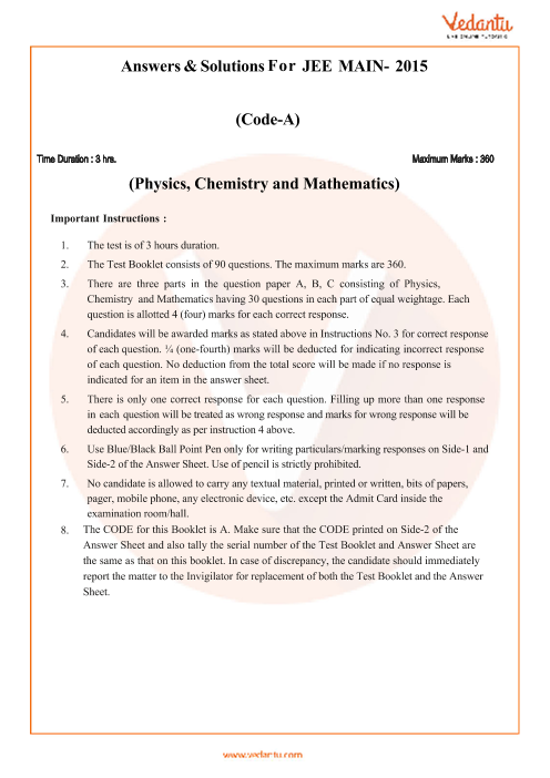 JEE Main Question Paper 2015-Set-A-Solutions part-1