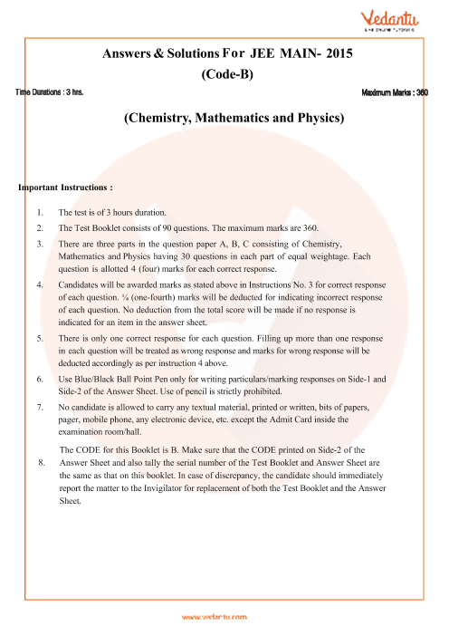 JEE Main Question Paper 2015-Set-B-Solutions part-1