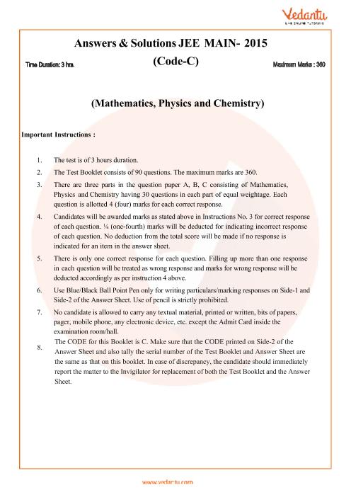 JEE Main Question Paper 2015-Set-C-Solutions part-1