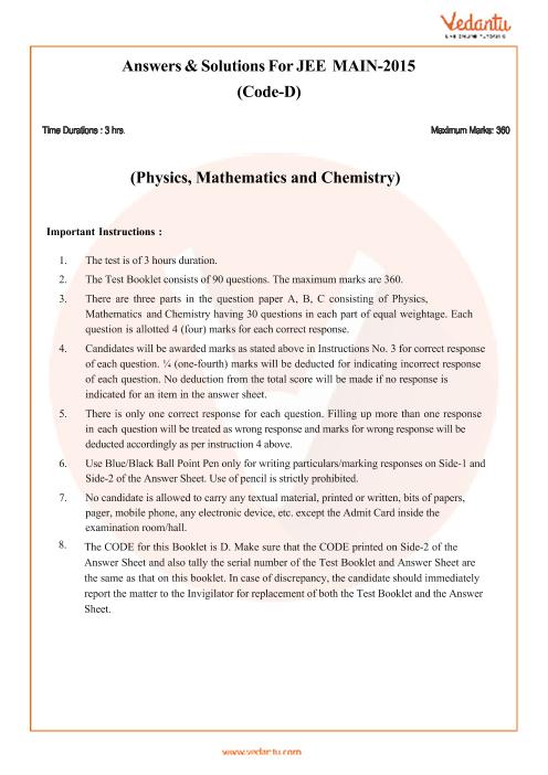 JEE Main Question Paper 2015-Set-D-Solutions part-1