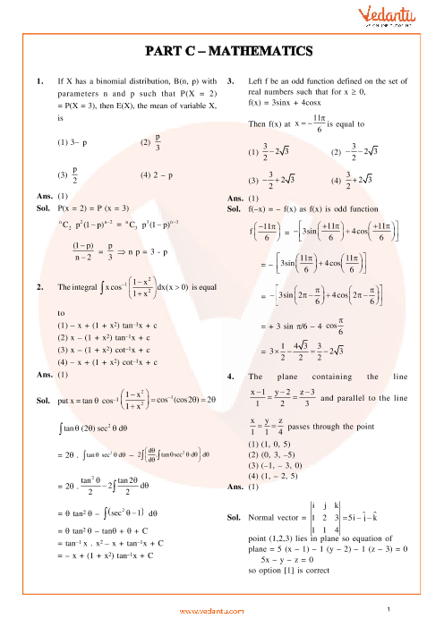 JEE Main 2014 Maths QP with Solutions Online-11-04-2014 part-1