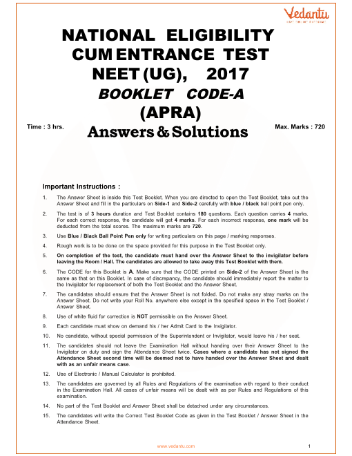 NEET 2017 Question Paper code-A with Solutions part-1