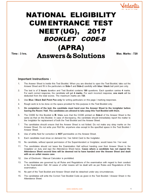NEET 2017 Question Paper code-B with Solutions part-1