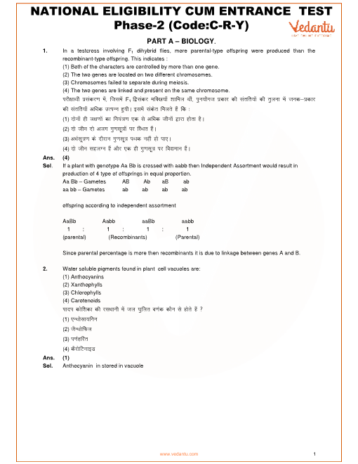 NEET 2016 Question paper with Solutions-Phase-1-Code-Y part-1