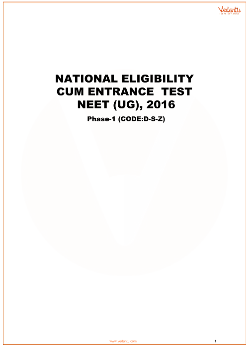 NEET 2016 Question paper with answer key Code-Z part-1