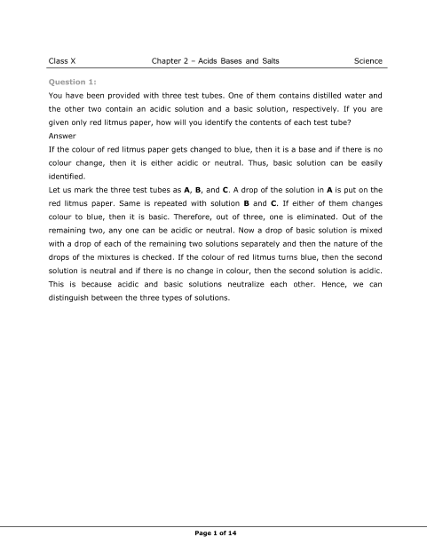 NCERT Solutions for Class 10 Science Chapter 2 part-1