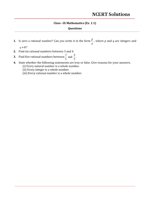 NCERT Solutions for Class 9 Maths Chapter 1 part-1