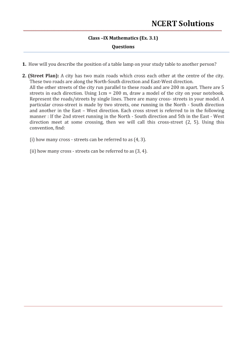 NCERT Solutions for Class 9 Maths Chapter 3 part-1