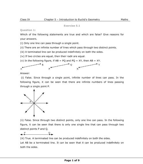 NCERT Solutions for Class 9 Maths Chapter 5 part-1