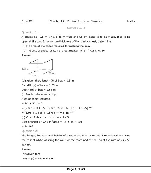 NCERT Solutions for Class 9 Maths Chapter 13 part-1
