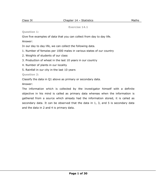 NCERT Solutions for Class 9 Maths Chapter 14 part-1