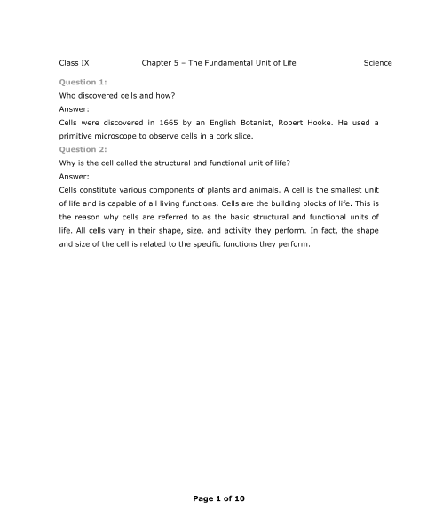 NCERT Solutions for Class 9 Science Chapter 5 part-1