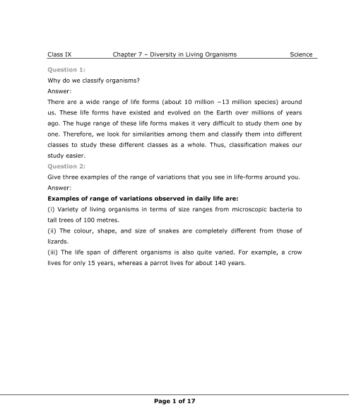 NCERT Solutions for Class 9 Science Chapter 7 part-1