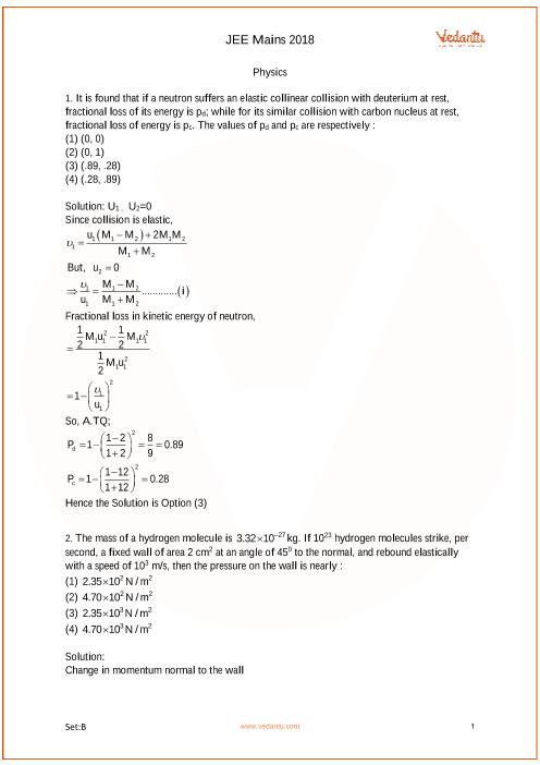 JEE Main 2018 Question Paper Set-B Solutions part-1