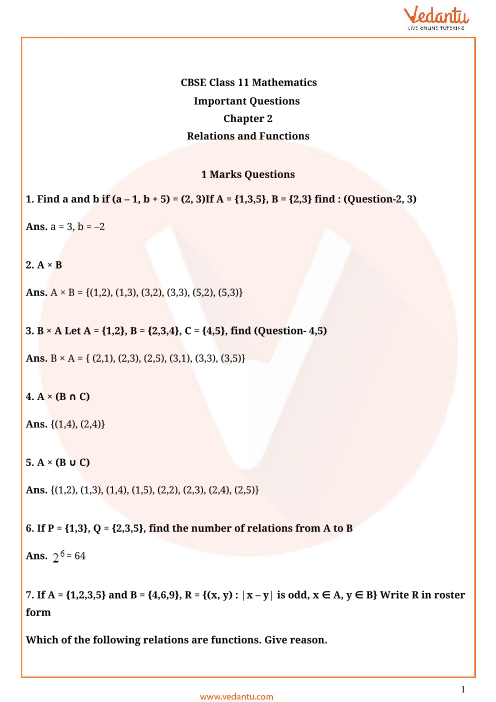 Important Questions Class 11 Maths Chapter 2 part-1