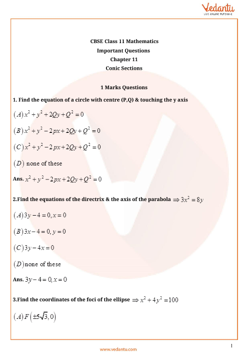 Important Questions Class 11 Maths Chapter 11 part-1