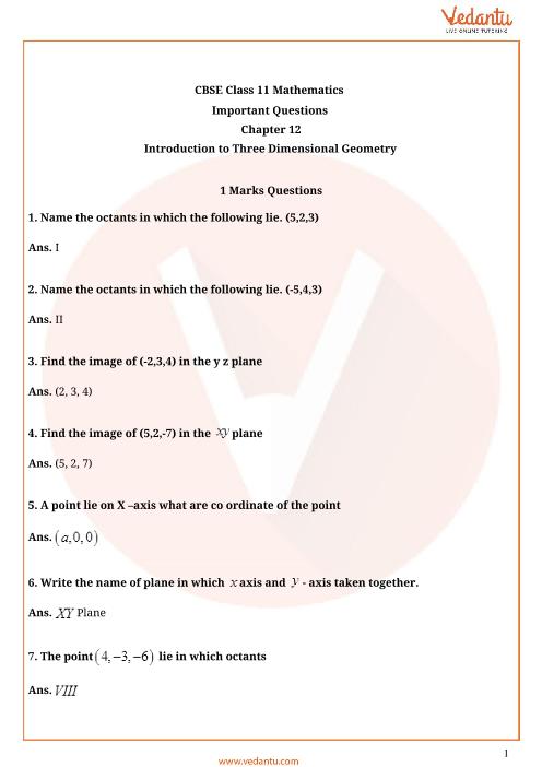 Important Questions Class 11 Maths Chapter 12 part-1