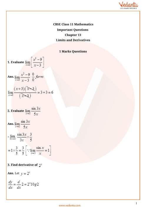 Important Questions Class 11 Maths Chapter 13 part-1