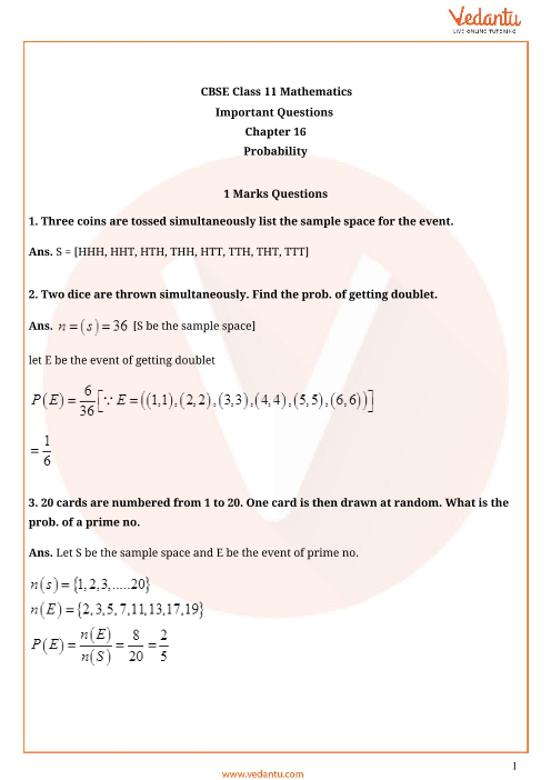 Important Questions Class 11 Maths Chapter 16 part-1