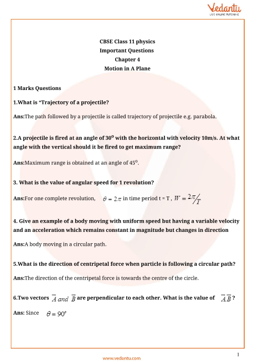 Important questions class 11 physics chapter 4 part-1
