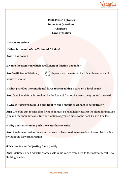 Important questions class 11 physics chapter 5 part-1