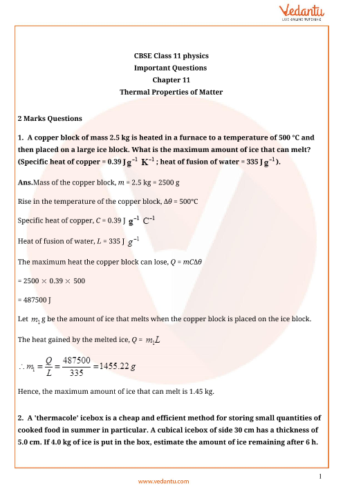 Important questions class 11 physics chapter 11 part-1