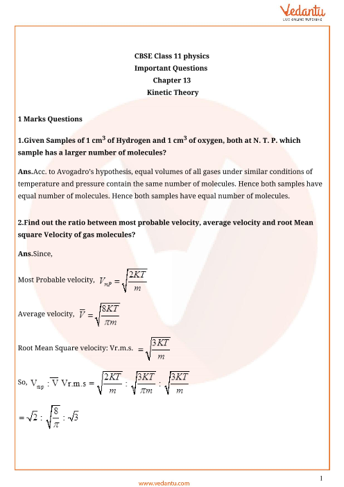 Important questions class 11 physics chapter 13 part-1
