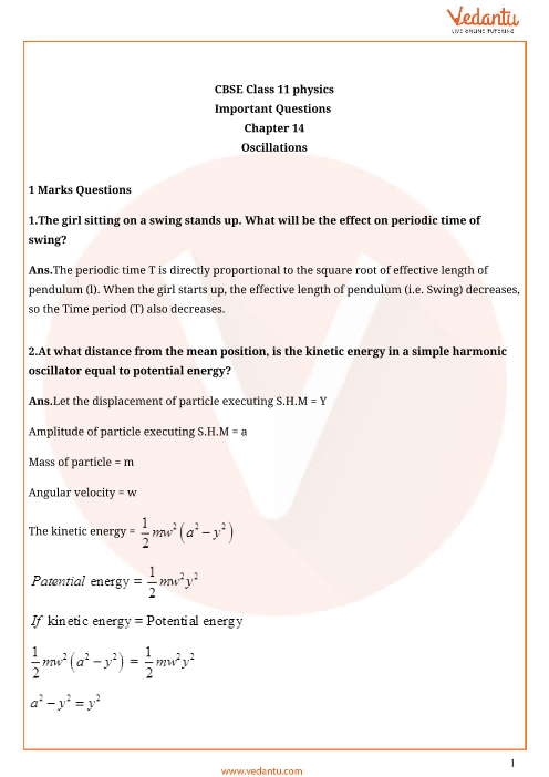 Important questions class 11 physics chapter 14 part-1