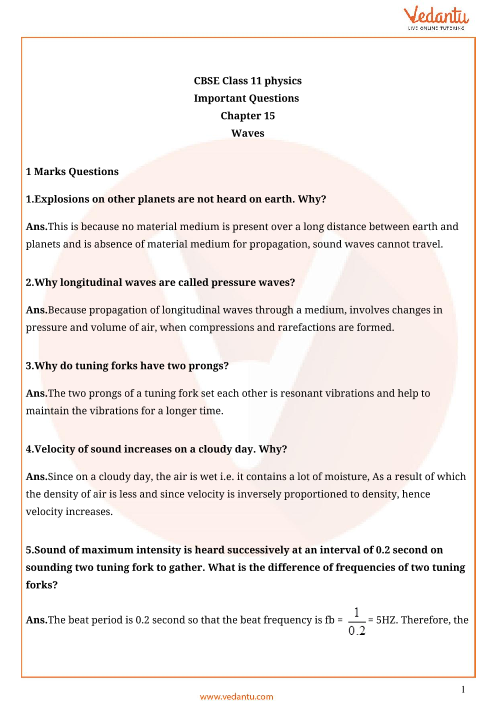 Important questions class 11 physics chapter 15 part-1