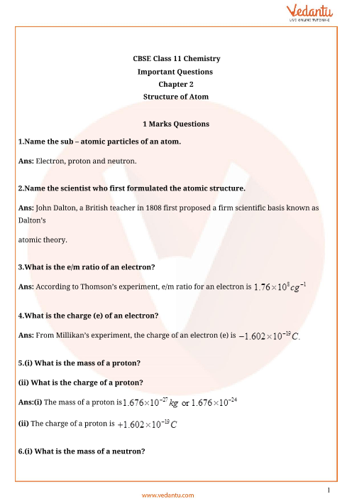 Important questions for cbse class 11 chemistry chapter 2 important question class 11 chemistry chapter 2 part 1 ccuart Images